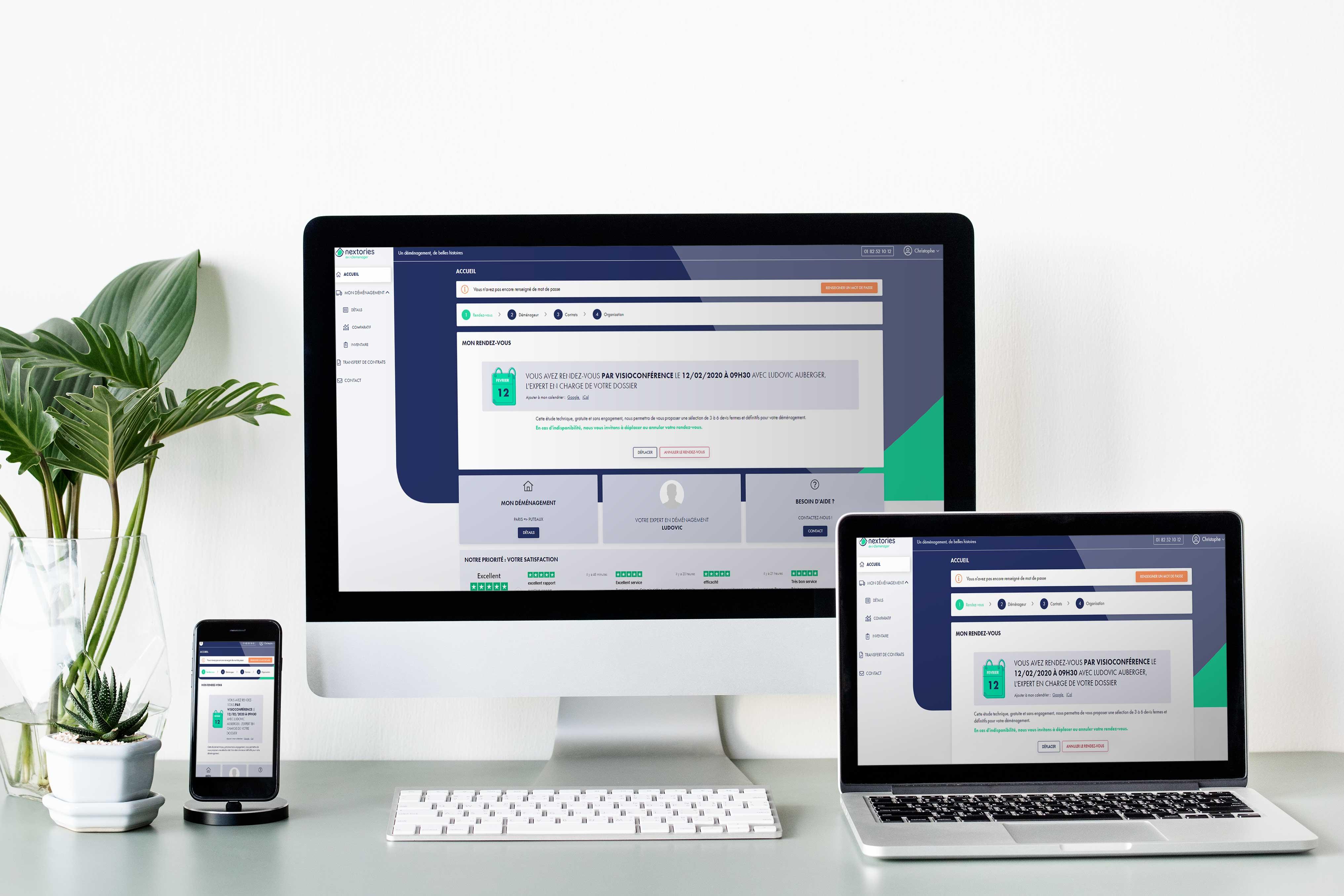 Espace client Nextories sur différent écran
