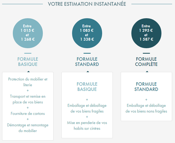 Estimation d m nagement instantan e i demenager - Estimation volume demenagement en ligne ...